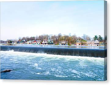 Philadelphia Phillies Canvas Print - Fairmount Dam And Boathouse Row In Philadelphia by Bill Cannon