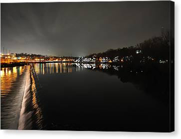 Fairmount Dam And Boathouse Row In The Evening Canvas Print by Bill Cannon