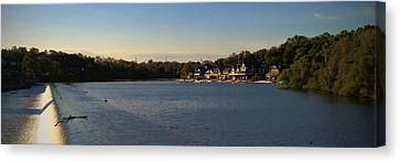 Fairmount Dam And Boathouse Row Canvas Print by Photographic Arts And Design Studio