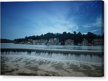 Philadelphia Phillies Canvas Print - Fairmount Dam In Front Of Boathouse Row by Bill Cannon