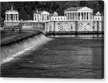 Ben Franklin Canvas Print - Fairmount Water Works Park Bw by Susan Candelario