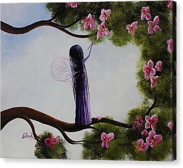 Flower Pink Fairy Child Canvas Print - Fairy Blossoms Original Whimsical Art by Shawna Erback