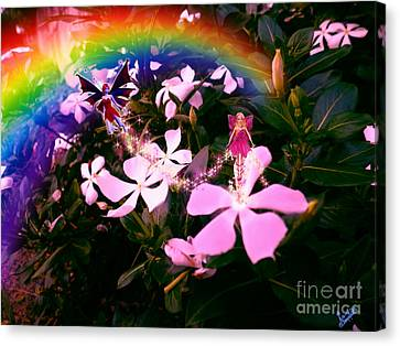 Fairy Landing On Crape Jasmine Canvas Print by Artist Nandika  Dutt