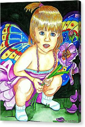 Flower Pink Fairy Child Canvas Print - Fairy Child by Judy Moon