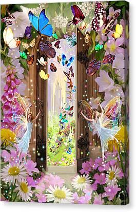 Foxgloves Canvas Print - Fairy Door by Garry Walton