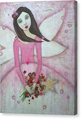 Flower Pink Fairy Child Canvas Print - Fairy Godmother by Denise Sauer