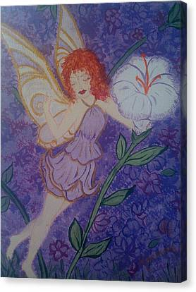 Canvas Print featuring the painting Fairy Harmony  by Judi Goodwin