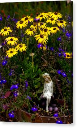 Canvas Print featuring the photograph Fairy In Garden Pot by Dave Garner