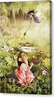 Fairy Mirabell And The Golden Key Canvas Print by Donika Nikova - ShaynART