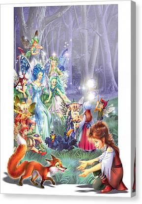 Gathering Canvas Print - Fairy Princess Gathering by Zorina Baldescu