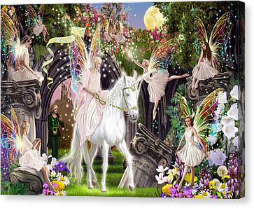 Harmonious Canvas Print - Fairy Queen With Unicorn by Garry Walton