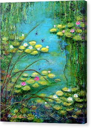 Fairy Tale Water Lilies Pond Canvas Print by Carla Parris