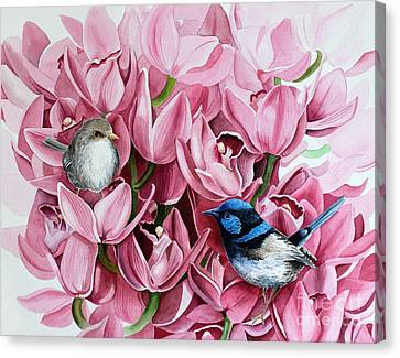 Fairy Wrens And Orchids Canvas Print by Debbie Hart