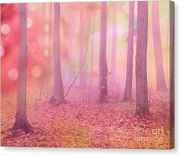 Fairytale Pink Autumn Nature Trees - Dreamy Fantasy Surreal Pink Trees Woodland Fairytale Art Print Canvas Print