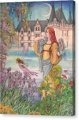 Canvas Print featuring the painting Fairytale Nocturne Castle by Judith Cheng