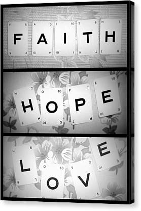 Faith Hope Love Canvas Print by Georgia Fowler