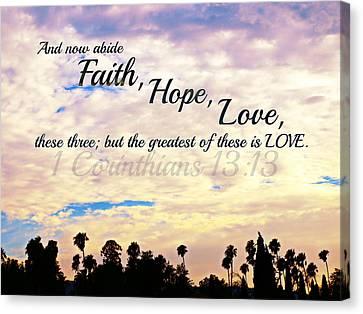 Faith Hope Love Canvas Print by Sharon Soberon