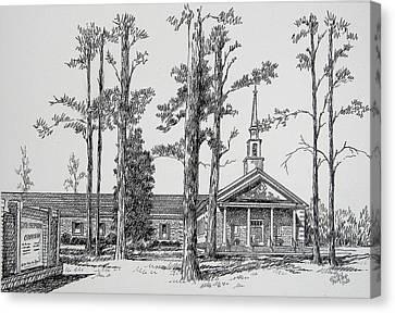 Canvas Print featuring the drawing Faith Presbyterian Church by Gloria Turner