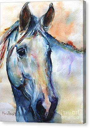 Horse  Grey Or White And Colorful Faithful Canvas Print by Maria's Watercolor