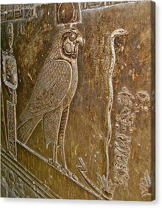 Falcon Symbol For Horus In A Crypt In Temple Of Hathor In Dendera-egypt Canvas Print