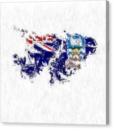 Falkland Islands Painted Flag Map Canvas Print by Antony McAulay