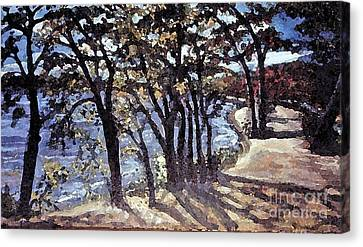 Canvas Print featuring the painting Fall Afternoon At Lake Walden by Rita Brown