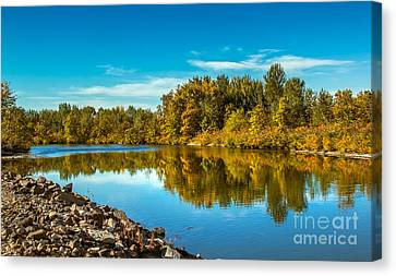 Fall Along The Payette River Canvas Print by Robert Bales