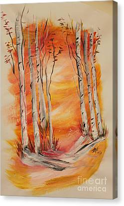 Canvas Print featuring the painting Fall Aspen On Paper by Janice Rae Pariza
