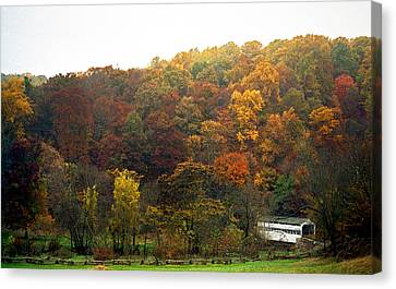 Covered Bridges Canvas Print - Fall At Valley Forge by Skip Willits
