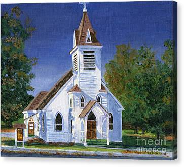 Fall Church Canvas Print by Lynne Reichhart