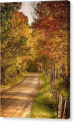 Canvas Print featuring the photograph Fall Color Along A Peacham Vermont Backroad by Jeff Folger