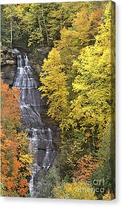 Fall Color Surrounds Chapel Falls On The Michigan Upper Peninsula Canvas Print by Dave Welling