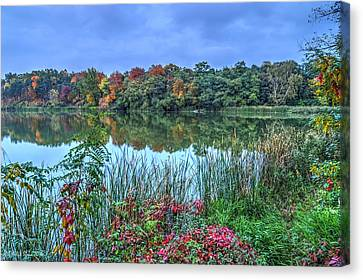 Fall Colors At Blue Hour Near Zegrze Canvas Print by Julis Simo