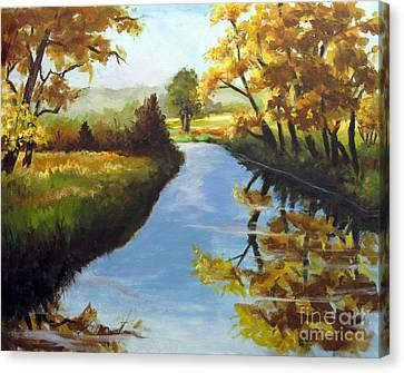 Canvas Print featuring the painting Fall Colors by Carol Hart