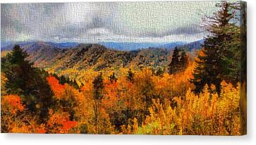 Fall Colors In The Smoky Mountains Canvas Print by Dan Sproul