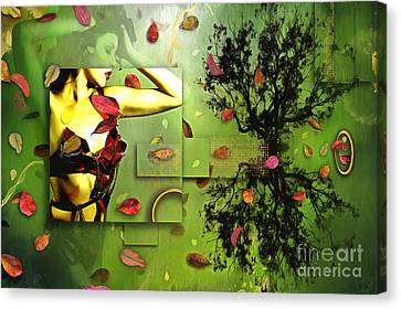 Canvas Print featuring the digital art Fall Colors by Nola Lee Kelsey