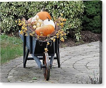 Fall Decorated Wheelbarrow  Canvas Print by Janice Drew