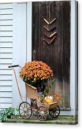 Fall Decorative Front Door Canvas Print by Janice Drew