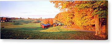 Country Lanes Canvas Print - Fall Farm Vt Usa by Panoramic Images