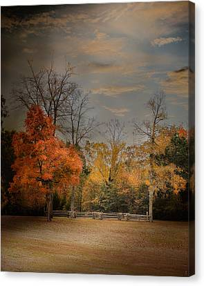 Fall Fenceline - Autumn Landscape Scene Canvas Print
