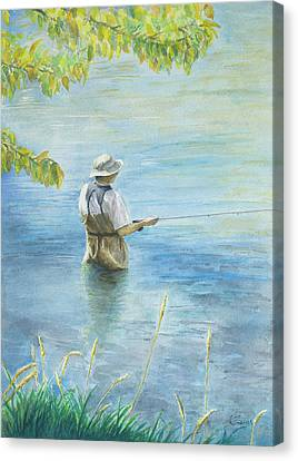 Canvas Print featuring the painting Fall Fisher by Arthur Fix