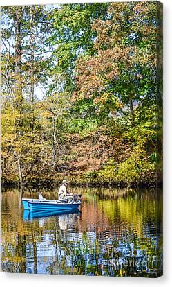 Canvas Print featuring the photograph Fishing Reflection by Debbie Green
