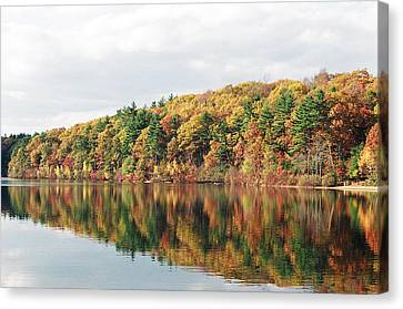 Fall Foliage At Walden Pond Canvas Print by John Sarnie