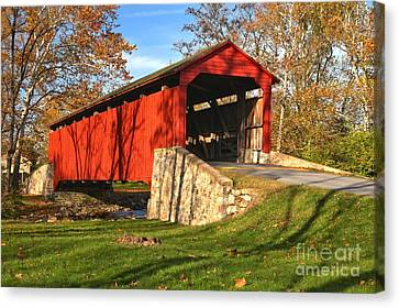 Conestoga Canvas Print - Fall Foliage Poole Forge Covered Bridge by Adam Jewell