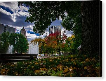 Fall Fort Wayne Skyline Canvas Print by Gene Sherrill