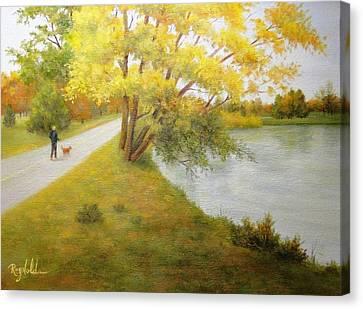 Fall Glory Greenlake Seattle Canvas Print by Carol Reynolds