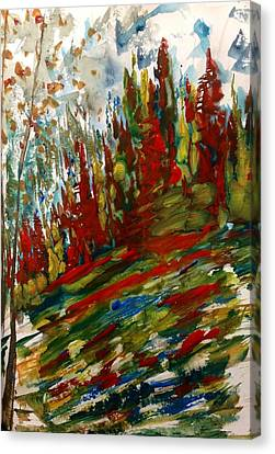 Fall Hillside In Abstract Canvas Print