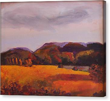 Canvas Print featuring the painting Fall In New England by Rosemarie Hakim