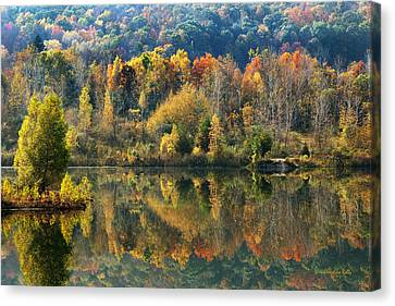 Abstract Water Fall Canvas Print - Fall Kaleidoscope by Christina Rollo