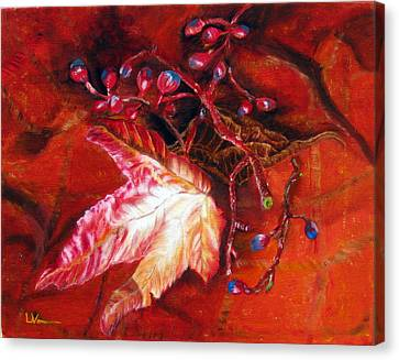 Canvas Print featuring the painting Fall Leaf And Berries by LaVonne Hand